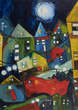 Small mein viertel bei nacht my town at night malkunst acryl