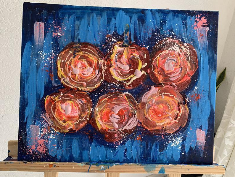 Malerei Kunst kaufen – Gemälde – Night Flowers Abstract Action Painting