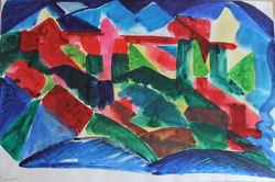 Middle abstrakte landschaft 2 malkunst aquarelle