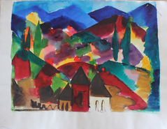 Middle abenddammerung in assisi malkunst aquarelle